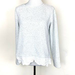 LOFT LONG SLEEVE RIBBED LAYERED PULLOVER TOP M